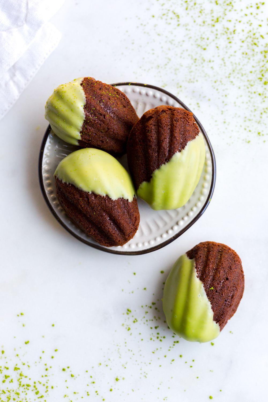 mint chocolate matcha mini madeleines recipe mint chocolate mint recipes chocolate pinterest