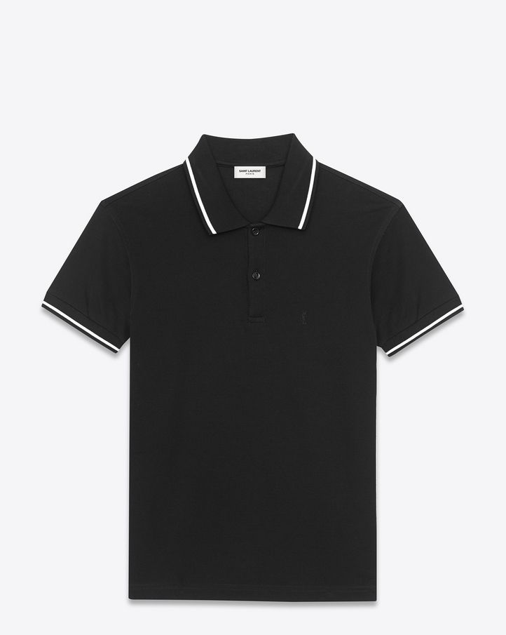 saintlaurent, CLASSIC Striped Trim POLO SHIRT IN BLACK AND White ...