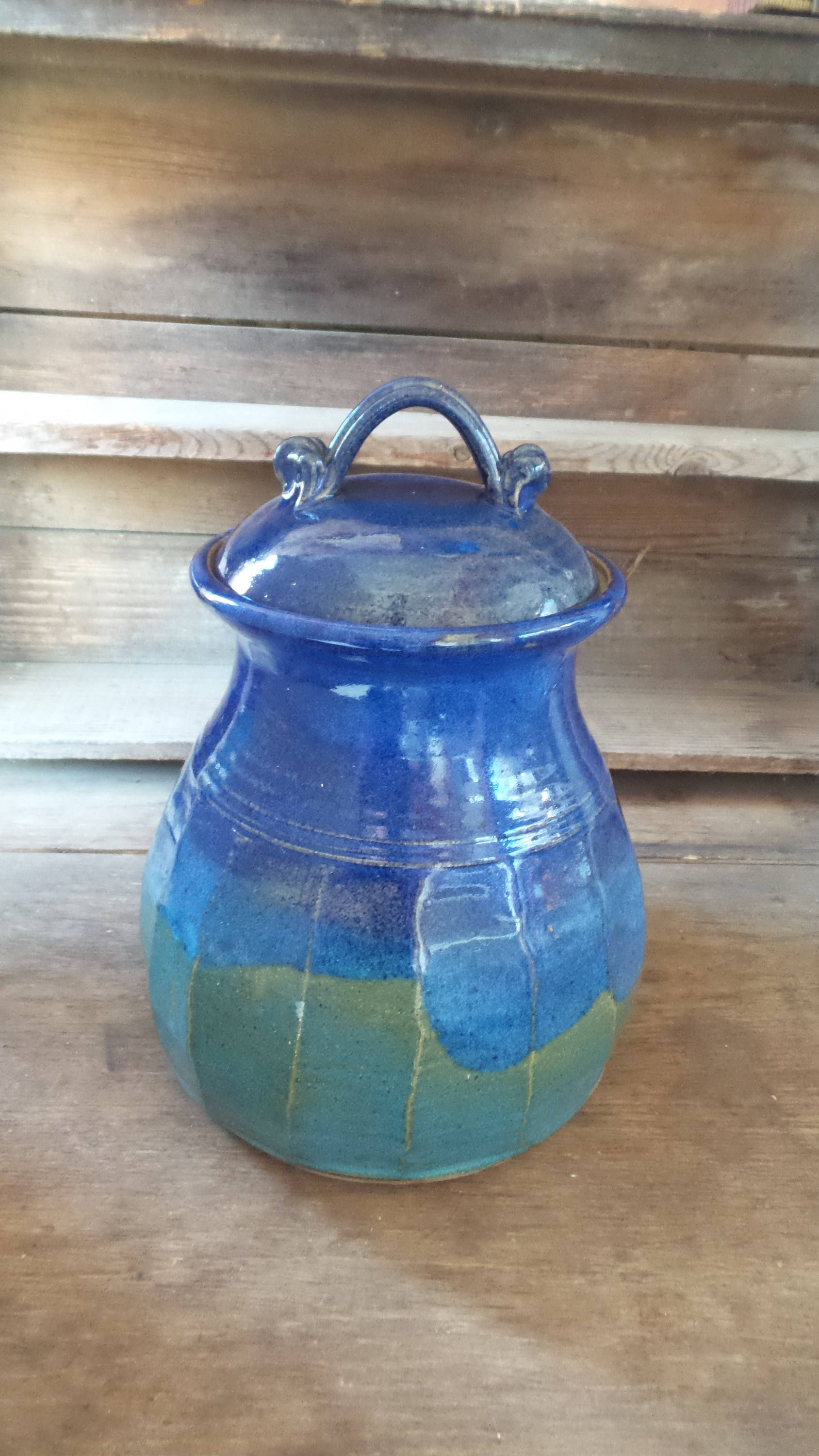 Vintage POTTERY COOKIE JAR, Large Handmade Stoneware Cookie Jar ...
