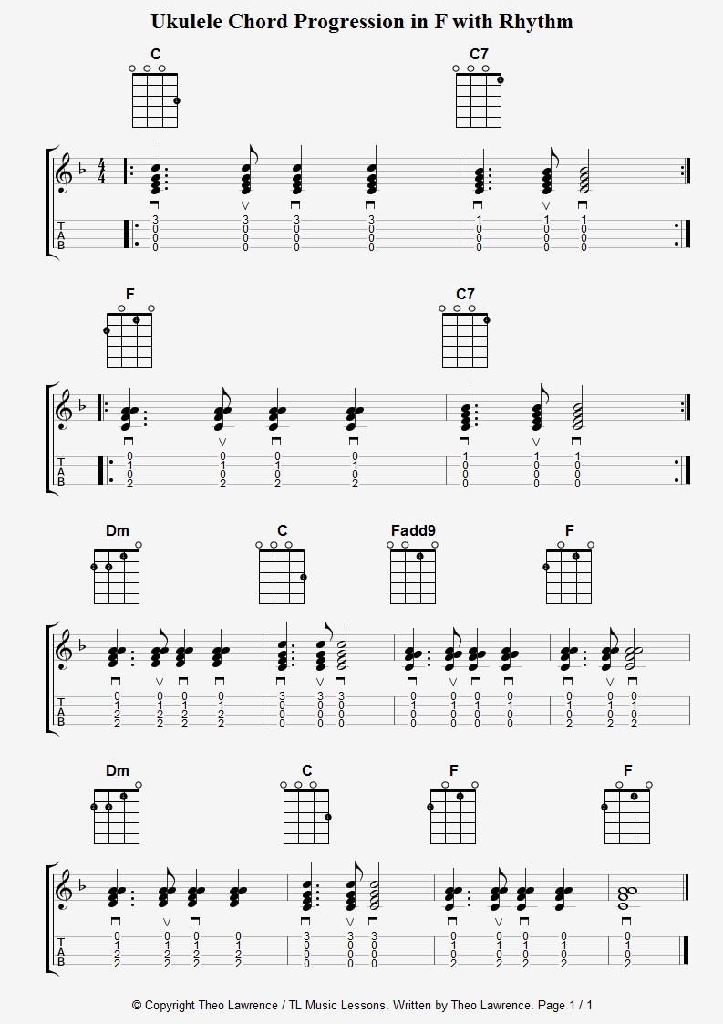 Ukulele Chord Progression In F With Rhythm Ukulele Pinterest