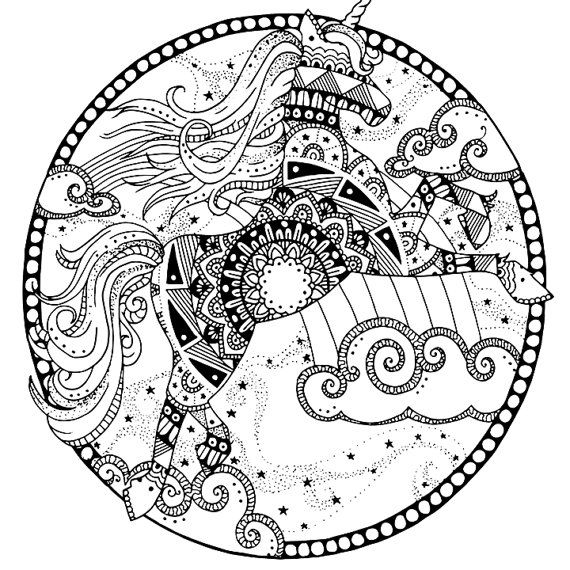 Unicorn coloring page for adults, Mandala adult coloring page ...