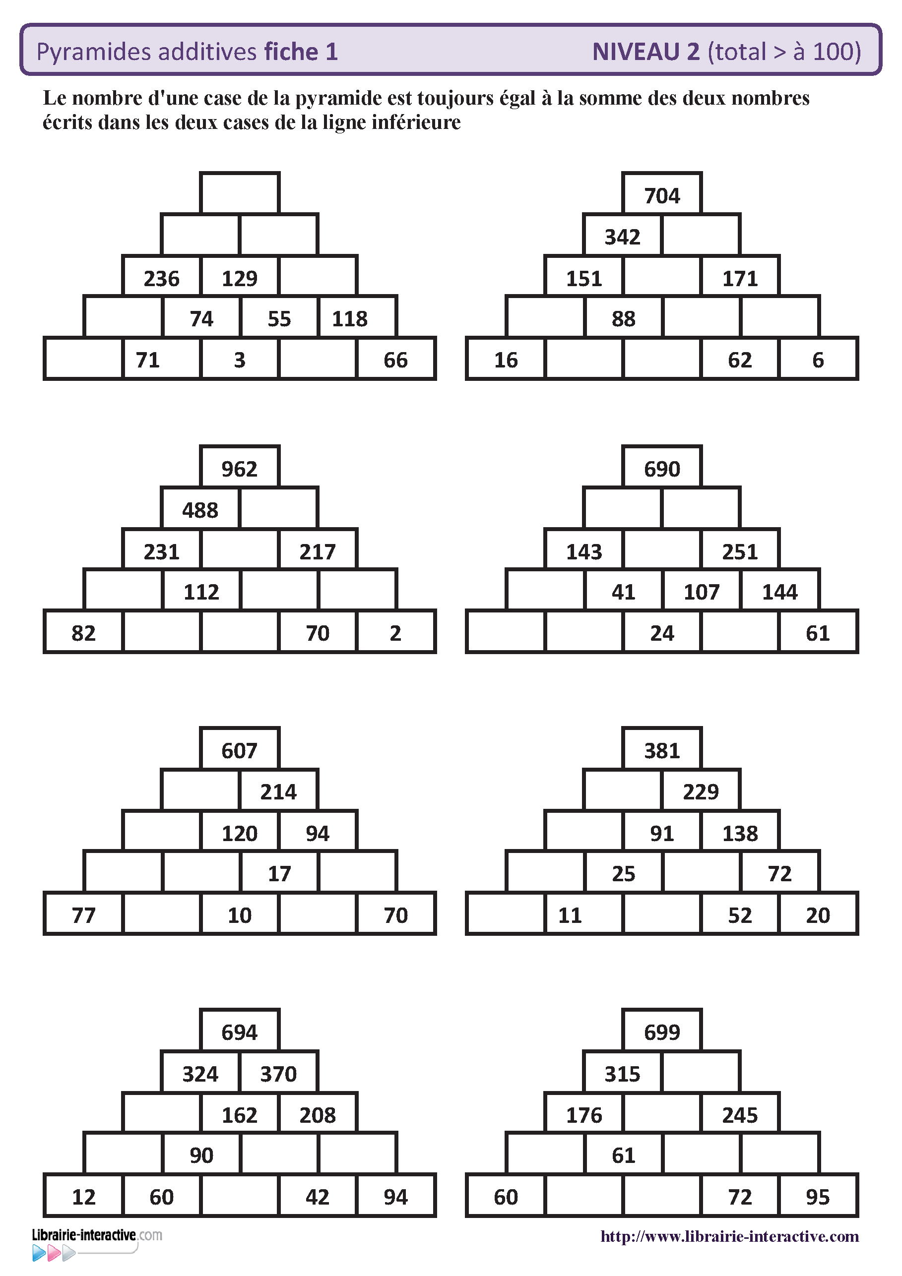 10 fiches autocorrectives avec des pyramides additives de niveau 2 r sultat sup rieur 100. Black Bedroom Furniture Sets. Home Design Ideas