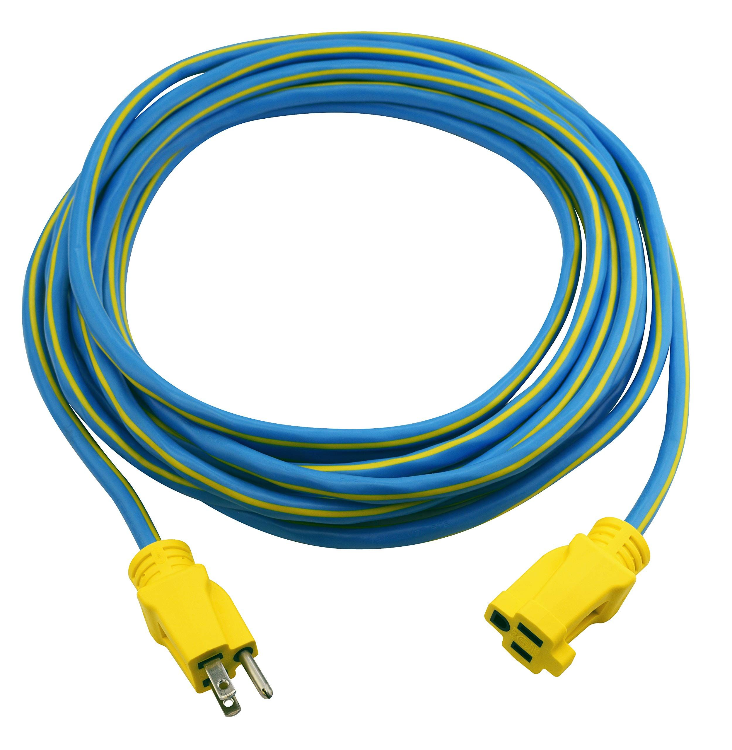 Prime Wire And Cable Kc506725 25 Foot 14 3 Sjtw Kaleidoscope Heavy Duty Outdoor Extension Cord Blue And Yello In 2020 Outdoor Extension Cord Extension Cord Heavy Duty