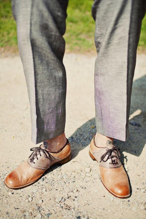 I like the subtle wing-tip like perforated embellishment, the cap-toe like staining and the saddle all combined here #shoes
