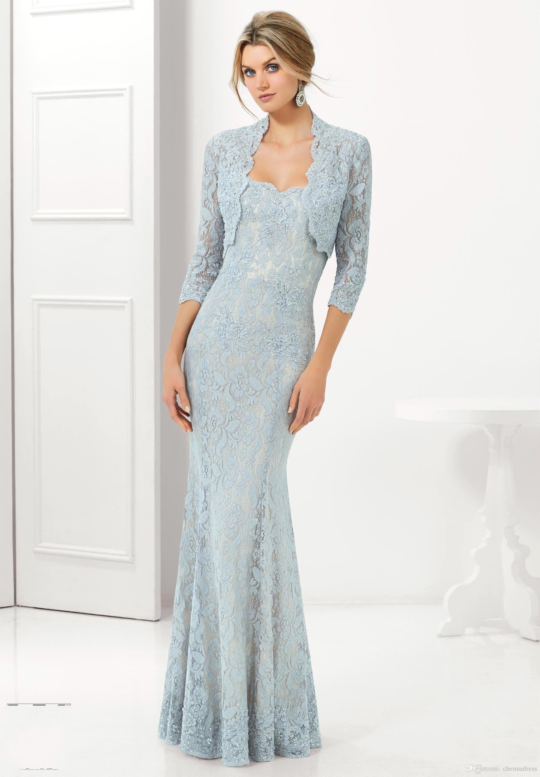 2015 mermaid light blue lace mother of the bride dresses