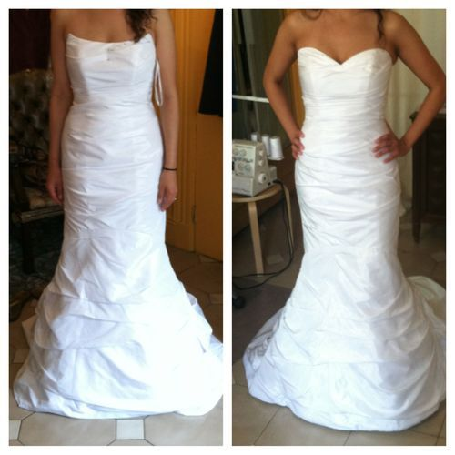After The Wedding Dress Ideas: Fitted Wedding Gown, Bust Through Waist And Hips, Hemmed