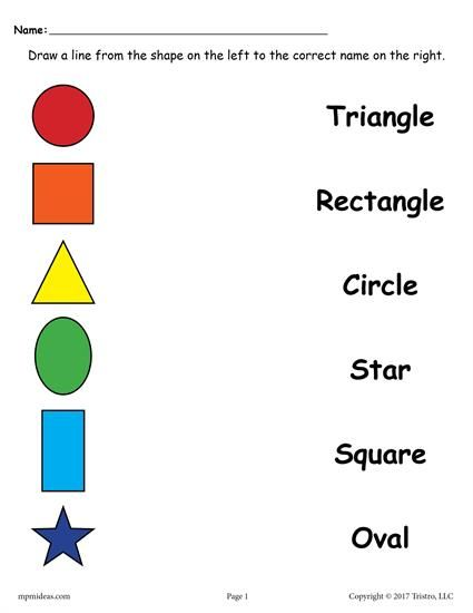 Matching Shapes Worksheet (basic Shapes). Great For Preschool And Beginning  Re… Shape Worksheets For Preschool, Matching Worksheets, Shapes Worksheet  Kindergarten