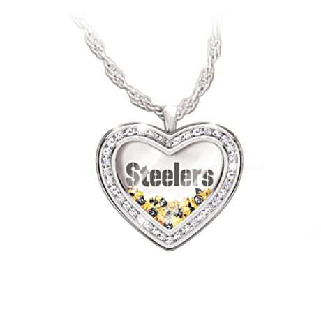 Engraved Steelers Necklace With Floating Crystals