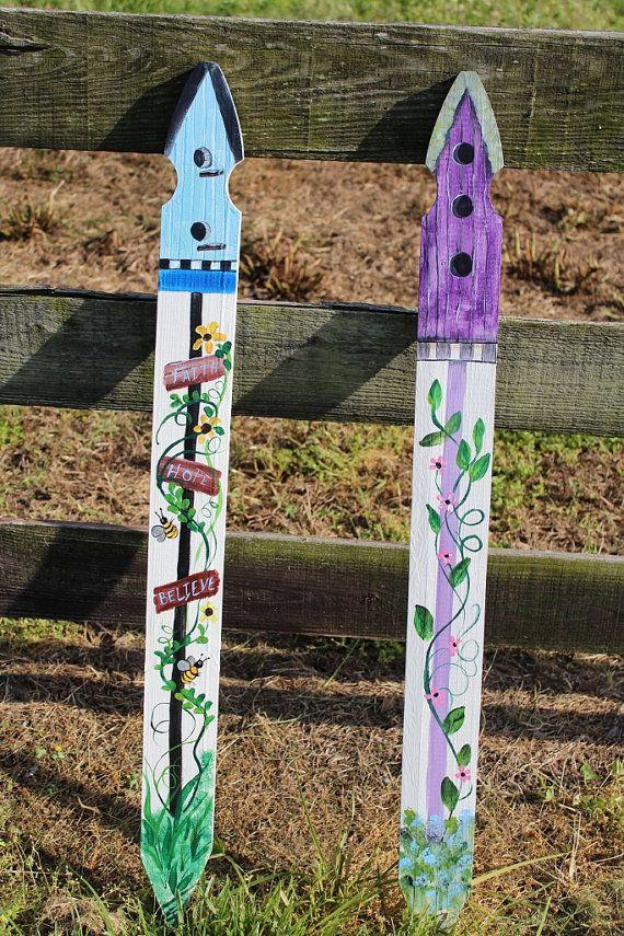 Sale Hand Painted Wood Fence Picket Outdoor Garden Art