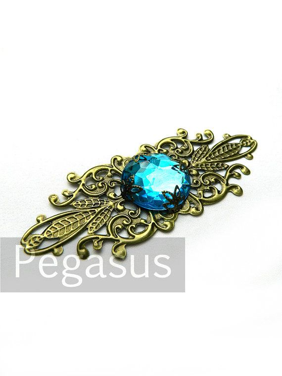 Elven Royal Court TEAL Blue Pendant (1 Pieces) Filigree Wrap Jewelry  pendant for circlets, bracers, costume armor