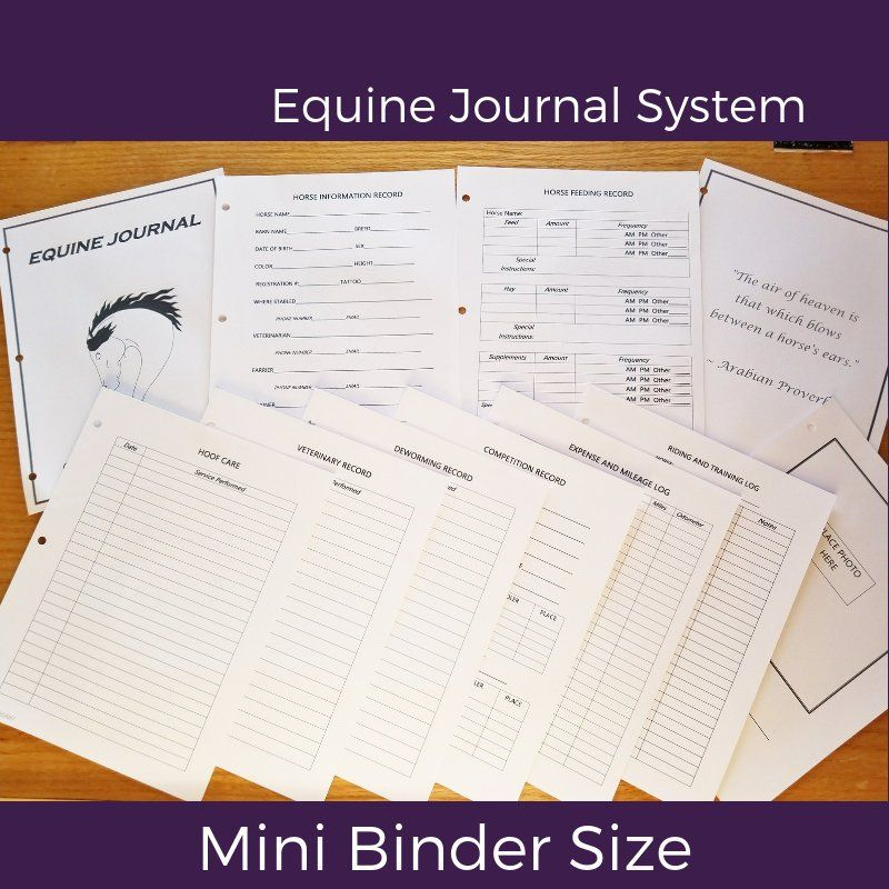 "Equine Journal System, Half Letter Size, 5.5"" X 8.5"", Mini"