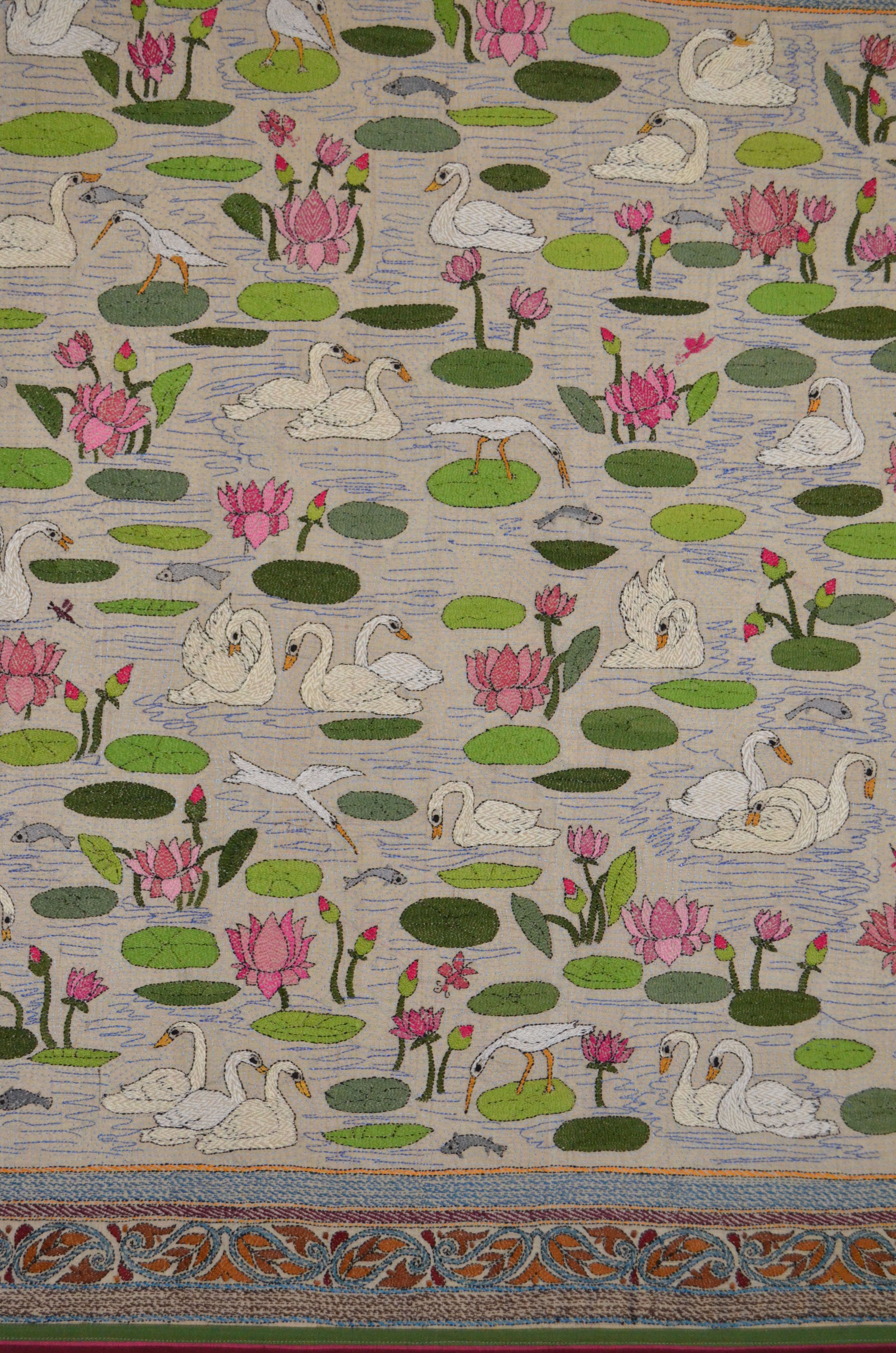Lotus And Swan Kantha Work Embroidery Art Work Hand
