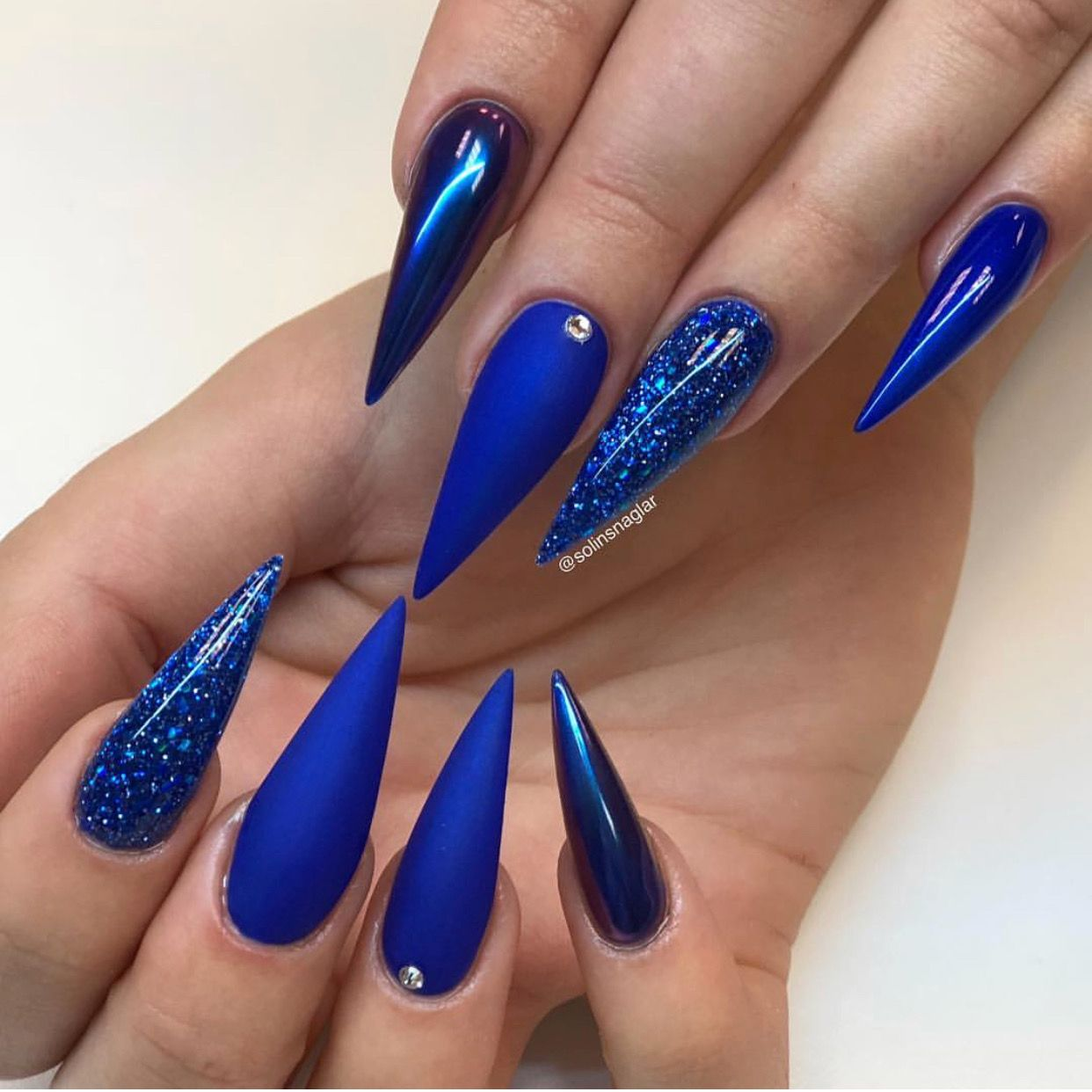 Luv This Blue The Finish The Shape Length Everything Stiletto Nails Designs Acrylic Nails Stiletto Blue Stiletto Nails