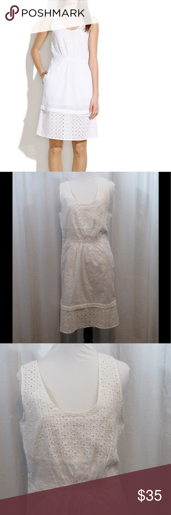 "Madewell White Eyelet Lovesong Dress 10 Size: 10 Material: 100% Cotton Care Instructions: Machine Wash Bust: 40"" Waist: 32"" Length: 39""  All clothes have been inspected and are in excellent used condition unless otherwise noted. P60 Madewell Dresses Midi"