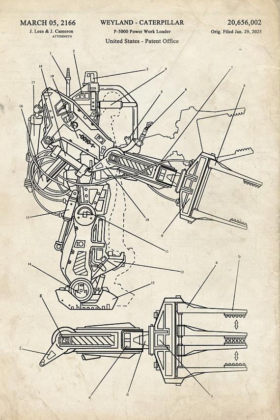 Aliens - Power Loader - Fantasy Art Patent - Patent Print