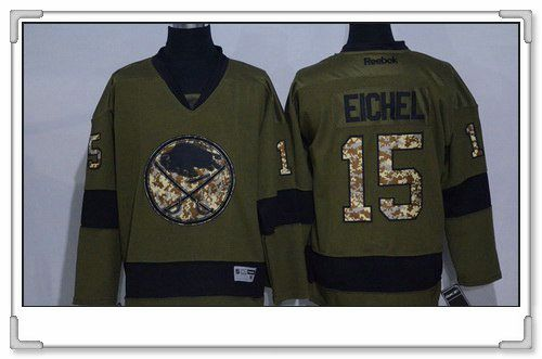 Men s Buffalo Sabres  15 Jack Eichel Green Salute To Service Stitched NHL  Reebok Hockey Jersey 6e2637845