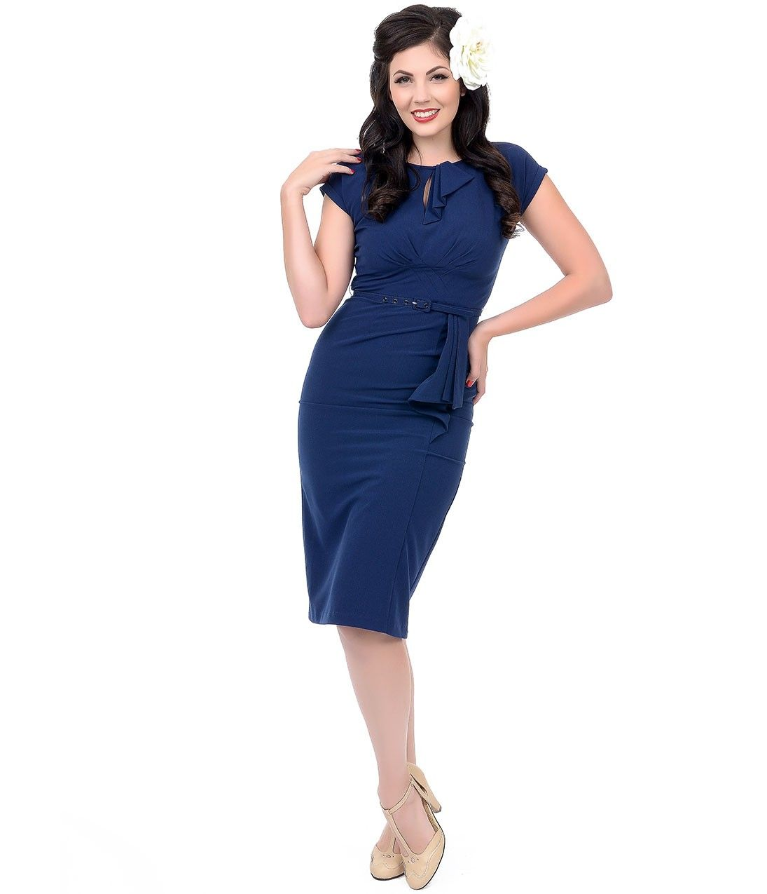 Stop staring s style navy fitted timeless wiggle dress