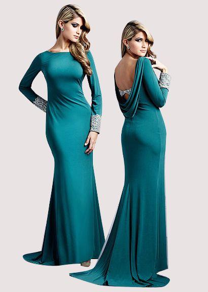 Modest Sheath Floor-length Jewel Evening Dresses