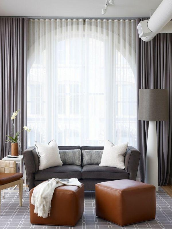 dekorative kissen wohnzimmer elegantes design braune hocker, Wohnzimmer
