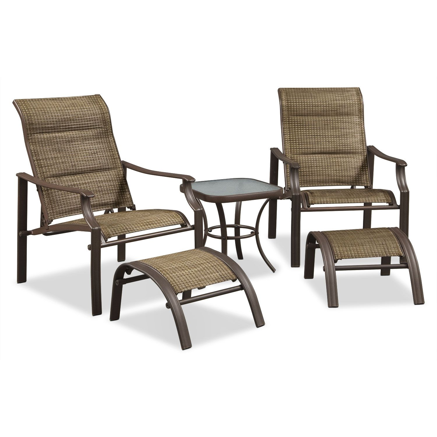 Outdoor Furniture Terrace 5 Piece Chat Set Brown
