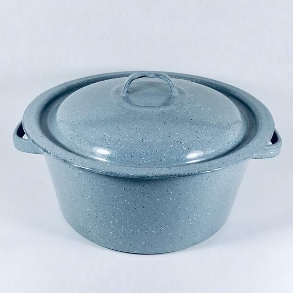 Grey Speckleware Pot with Lid | Blue Grey Enamelware Splatterware | Vintage Cookware | Camp Cooking #bluegreykitchens