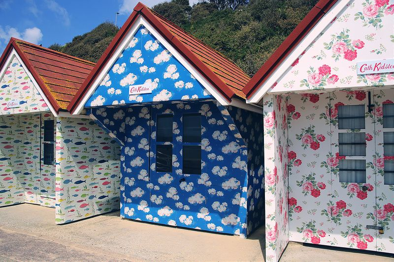 Cath Kidston beach huts on Bournemouth seafront