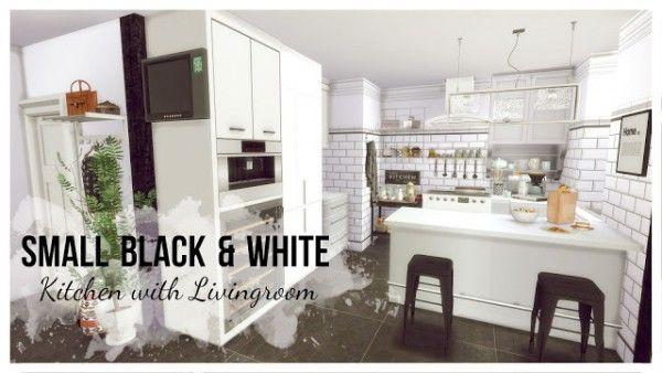 Dinha Gamer Small Black White Kitchen With Livingroom Sims 4