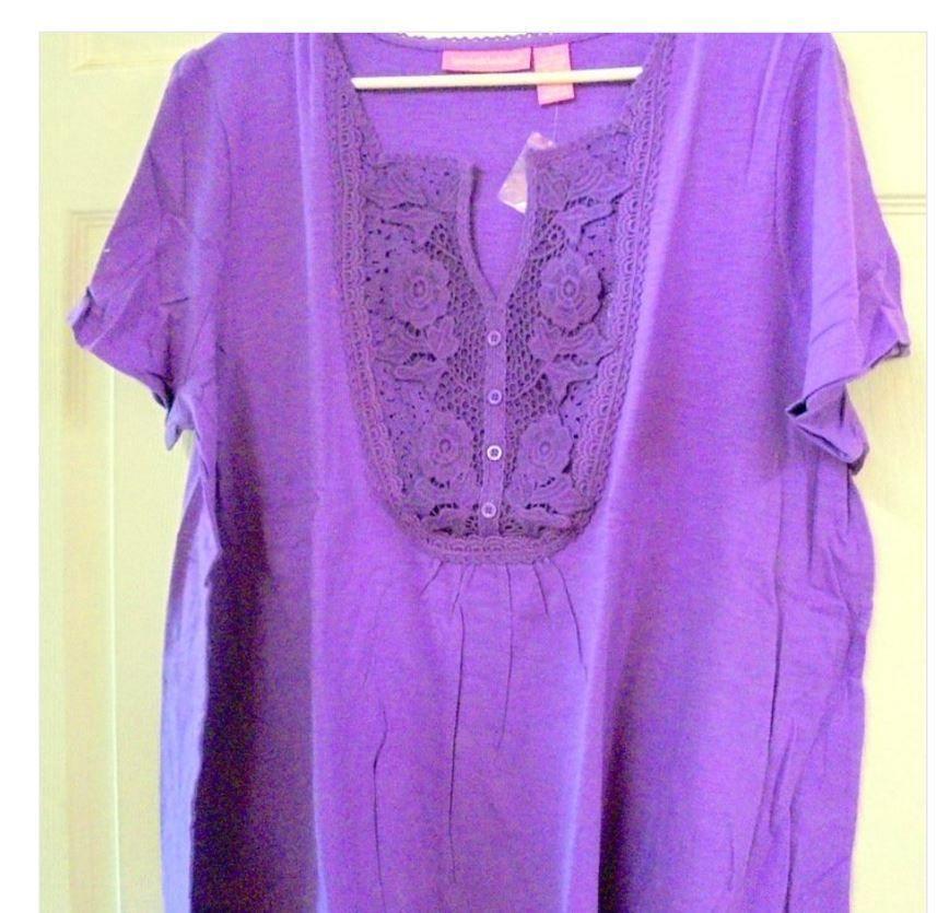 3adeebc63ed WOMAN WITHIN Women PLUS L - Purple Henley Bib Gathered Top