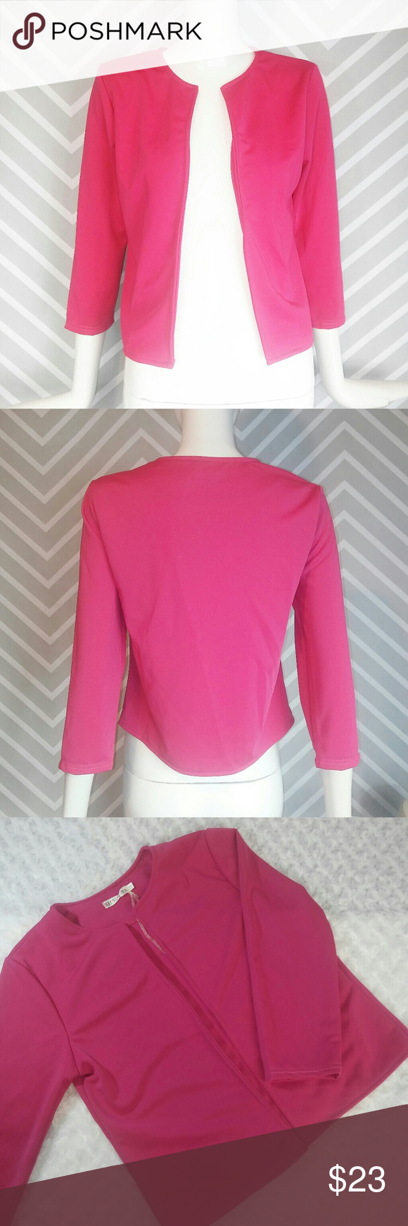 Hot Pink New Lightweight Blazer Top Throw Over Reasonable