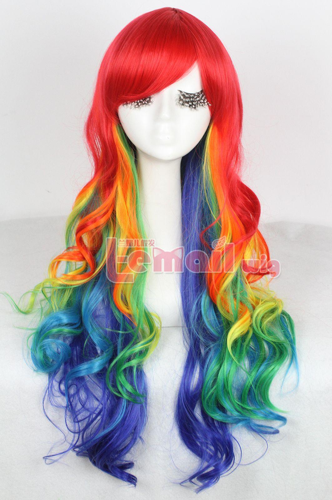 Multicolour Hair 75cm Long Rainbow Wavy Zipper Cosplay Wig