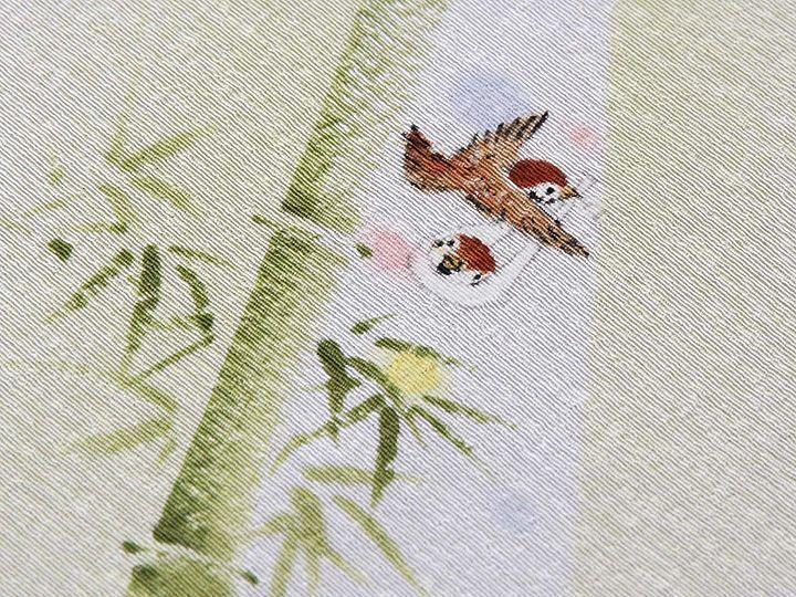 手描き半襟 「竹雀」  素材:絹100% 日本製 <ERISHO ORIGINAL >