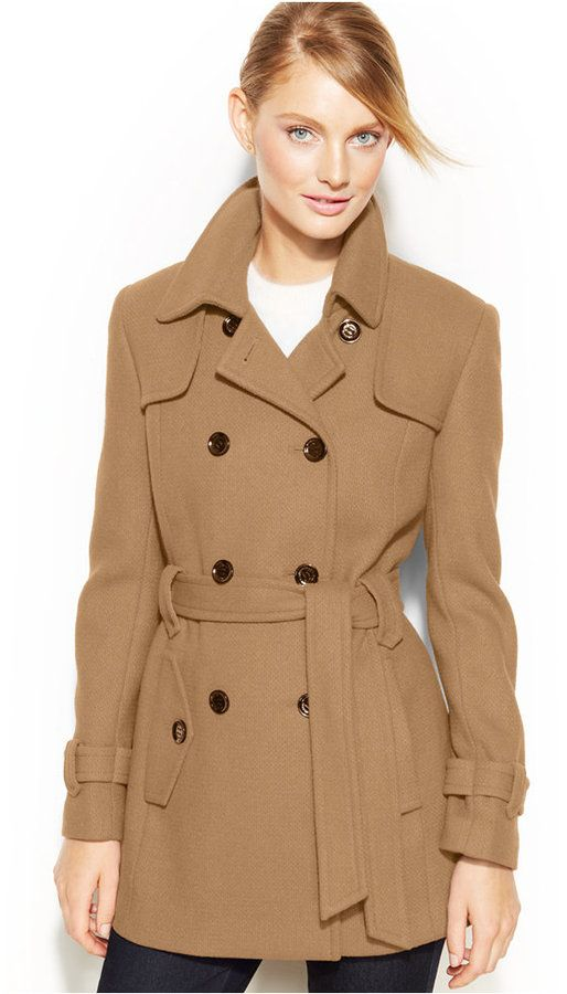 03f24e60dde Calvin Klein Double-Breasted Belted Pea Coat on shopstyle.com ...