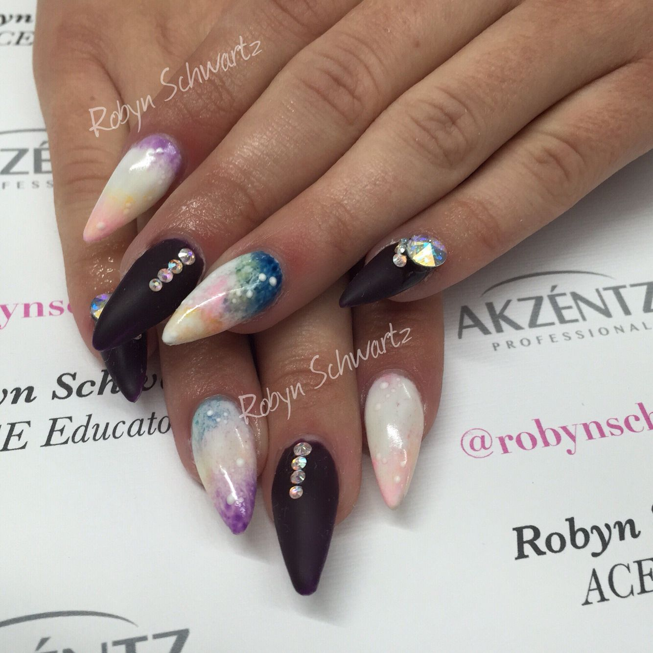 Galaxy nails Stiletto nails Almond nails | Blingy Nails | Pinterest ...