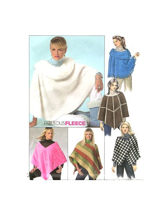 Womens Fleece Poncho Six Styles Fabulous Fleece Sewing Pattern Mccalls 4976 Plus Size L Xl Bust 38 4 Fleece Sewing Patterns Sewing Fleece Fleece Poncho
