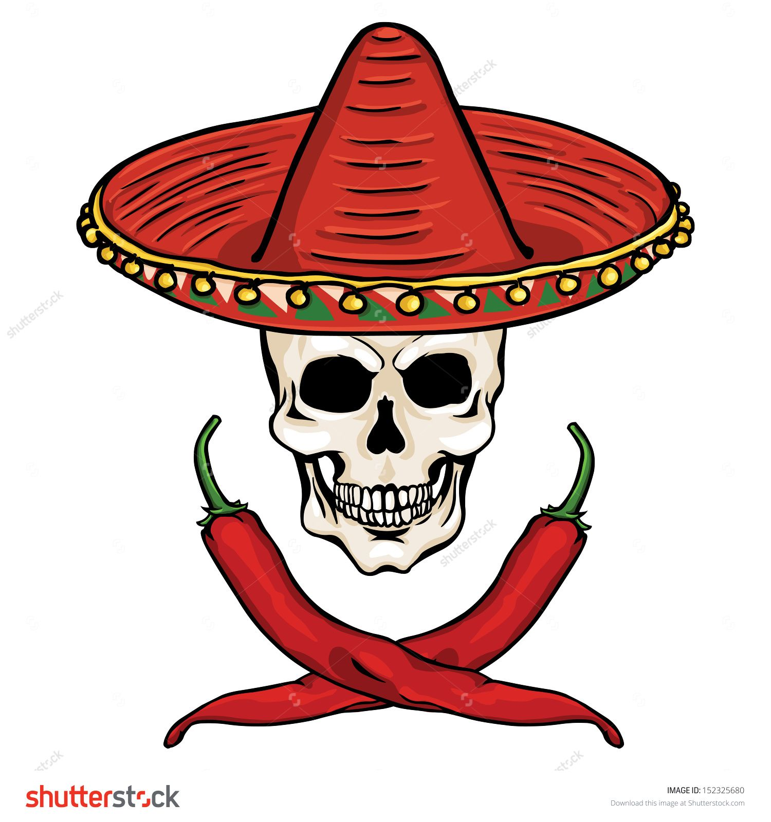 vector skull in a Mexican sombrero and  ross of chili peppers ... 3abbae42b05