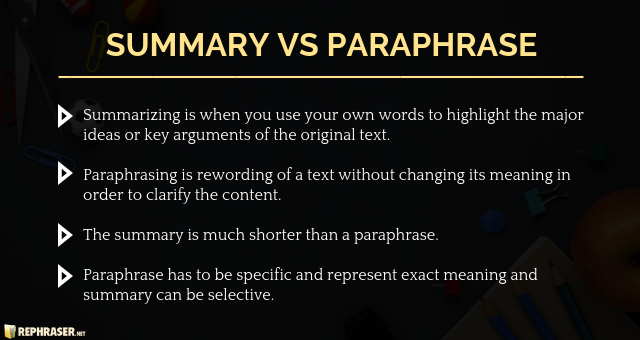 Difference Between Paraphrasing And Summarizing Paraphrase Summarize Words Different Rephrasing