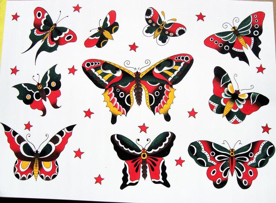 Traditional Butterfly Tattoo Flash: Mariposas, Tatuajes, Fotos