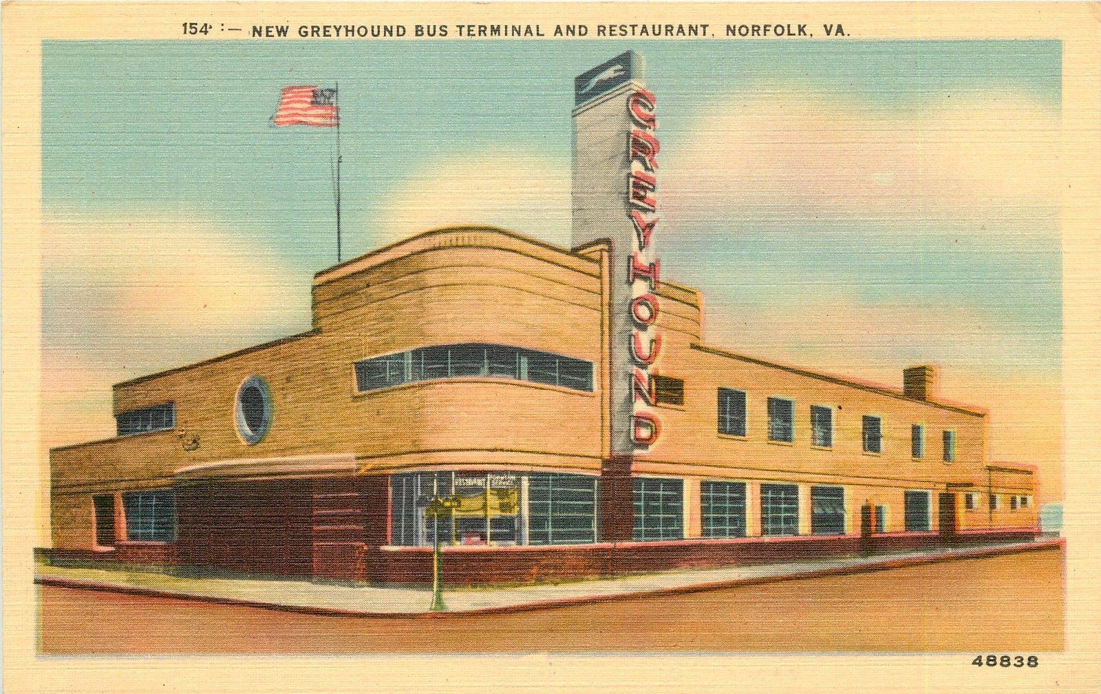 154 New Greyhound Bus Station Terminal Restaurant Linen Postcard Norfolk Va