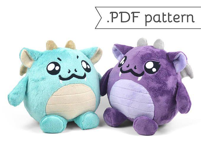 Chubby Dragon Plush Sewing Pattern .pdf Tutorial Monster | Nähen ...