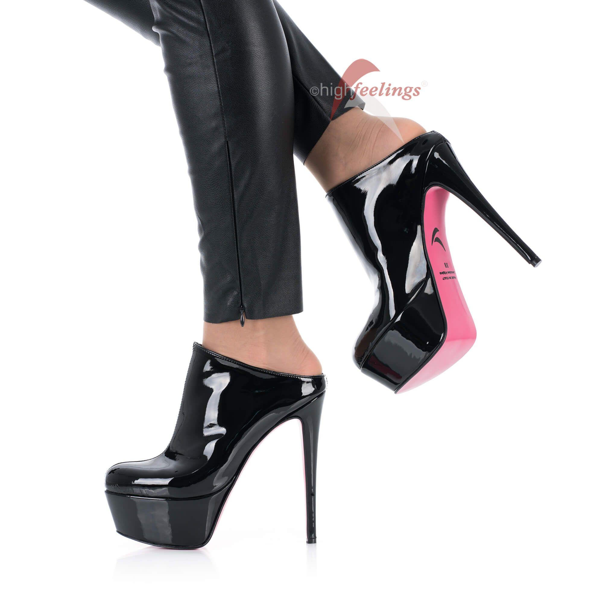 Damen Lack Pantoletten 5 cm Plateau 14-16 cm High Heels Schwarz EU 36-47
