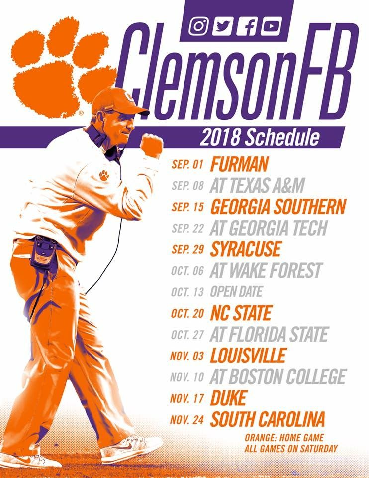 2018 Football Schedule Clemson tailgating, Clemson football