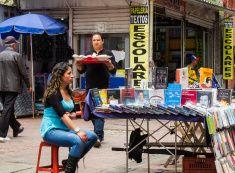 Bogota, Colombia - Street vendors on Street 16 stock photo