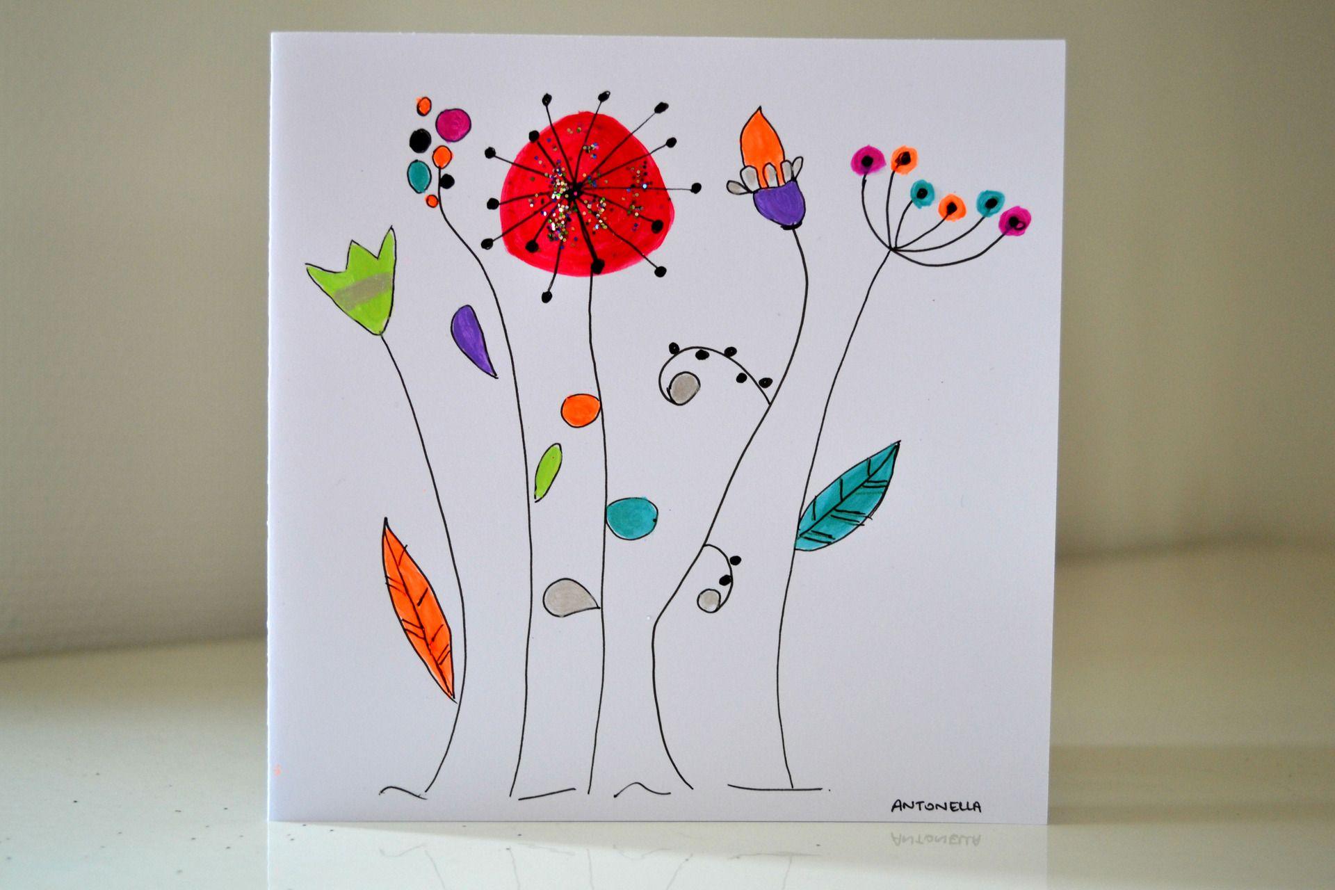 création carte de voeux Carte Anniversaire illustration fleurs peinte à la main   Carte de