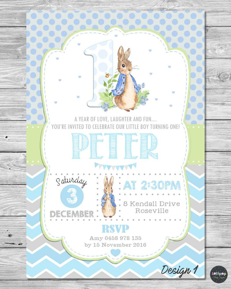 Peter Rabbit Personalised Invitation 1st Birthday Party Supplies Boy