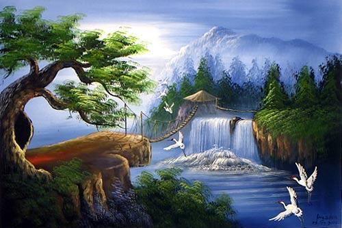 Oriental Mountains Oriental Paintings Mountain Bridge Mountain Paintings Landscape Painting