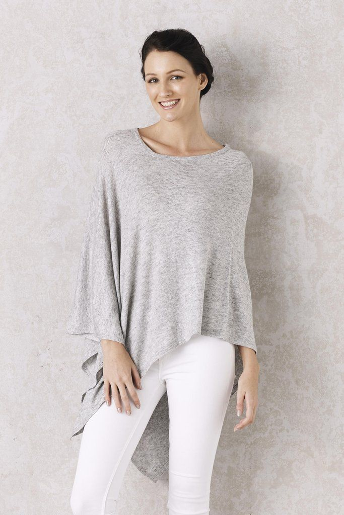 Cashmere Poncho in Light Grey