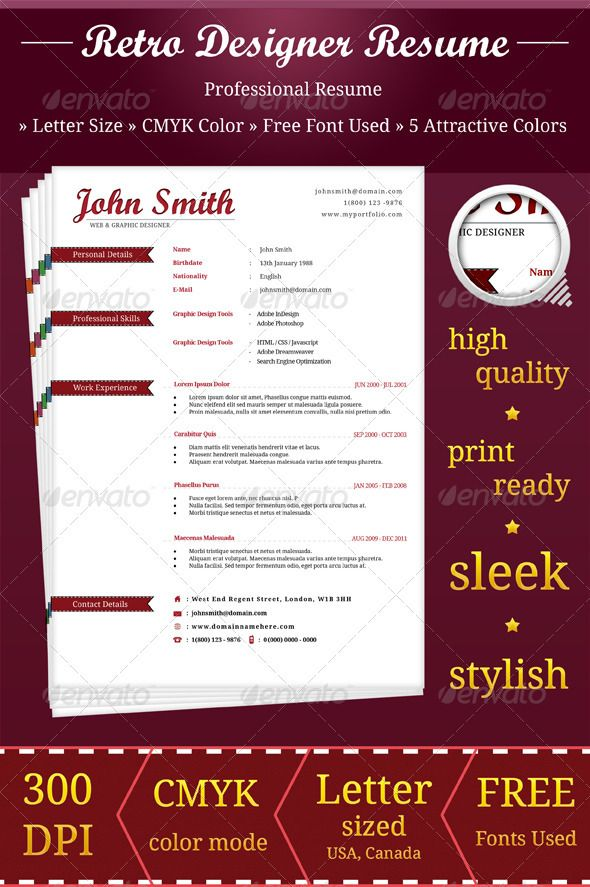 retro designer resume retro designers and vector shapes designer resume format - Graphic Designer Resume Format