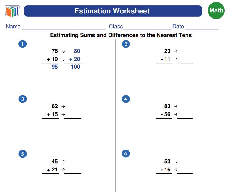 Estimation Math Generator Math Worksheet, Free Math Worksheets, Free Math