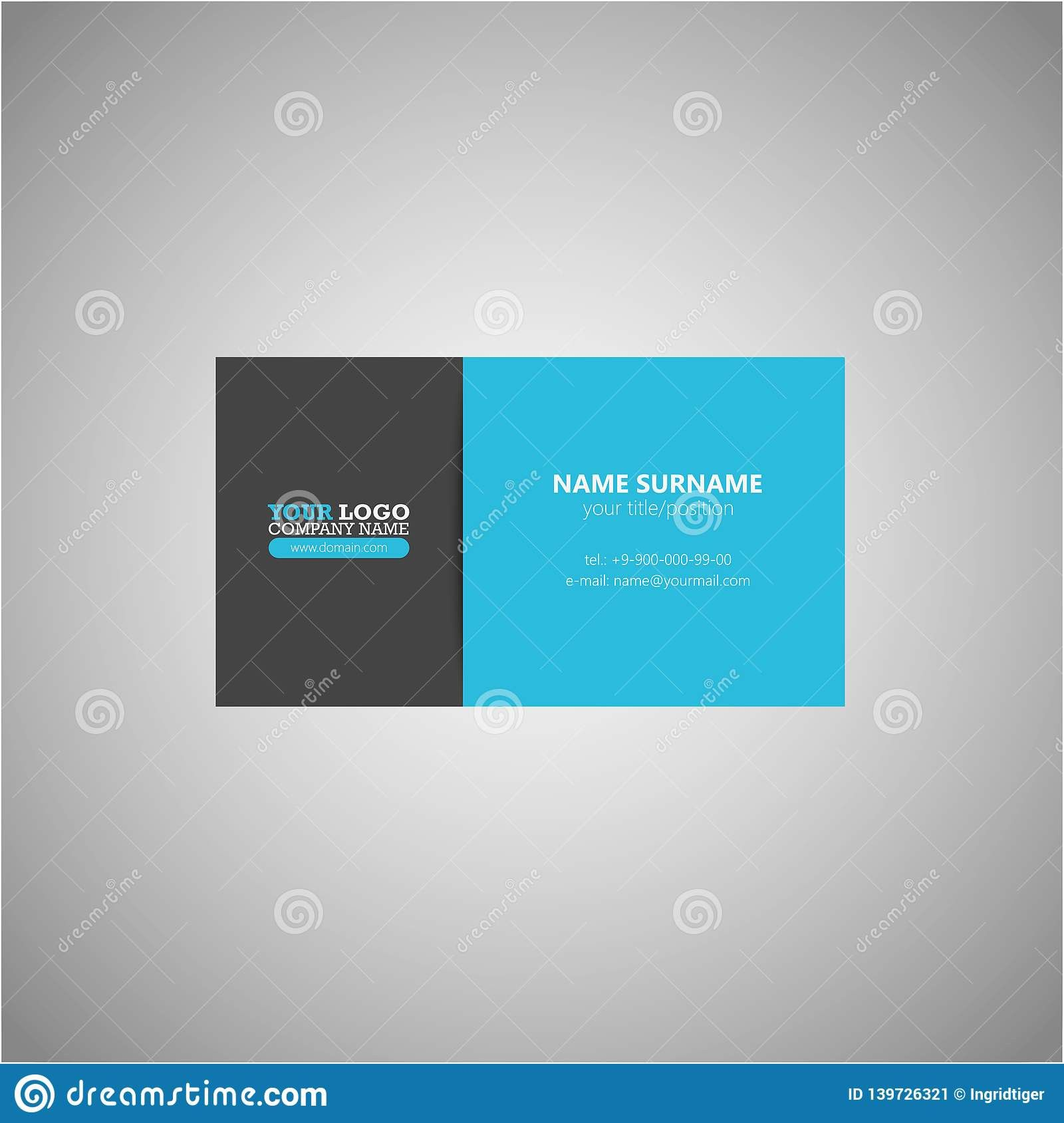 Two Sided Business Card Template Modern Clean Business Card Vector Template One Si Vector Business Card Business Cards Vector Templates Cleaning Business Cards