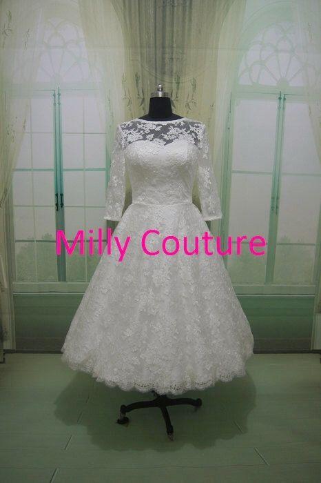 Isabella - Lace kurz Hochzeitskleid/Brautkleid, Retro inspiriert Tee ...